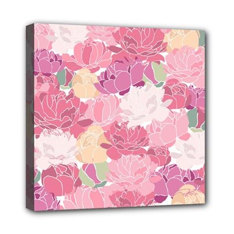 Peonies Flower Floral Roes Pink Flowering Mini Canvas 8  x 8