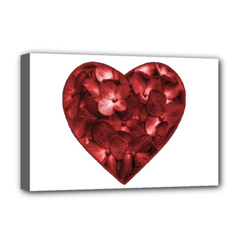 Floral Heart Shape Ornament Deluxe Canvas 18  x 12