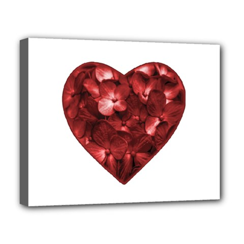 Floral Heart Shape Ornament Deluxe Canvas 20  x 16