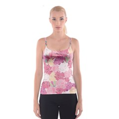 Peonies Flower Floral Roes Pink Flowering Spaghetti Strap Top
