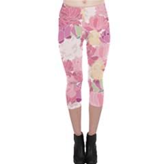 Peonies Flower Floral Roes Pink Flowering Capri Leggings