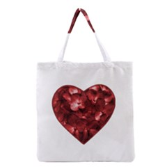 Floral Heart Shape Ornament Grocery Tote Bag