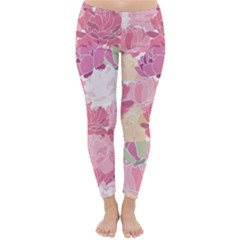 Peonies Flower Floral Roes Pink Flowering Classic Winter Leggings