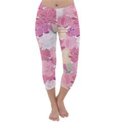 Peonies Flower Floral Roes Pink Flowering Capri Winter Leggings