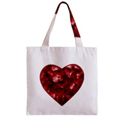 Floral Heart Shape Ornament Zipper Grocery Tote Bag