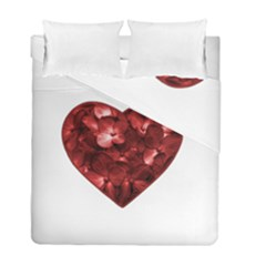Floral Heart Shape Ornament Duvet Cover Double Side (Full/ Double Size)