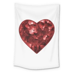 Floral Heart Shape Ornament Large Tapestry