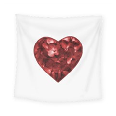 Floral Heart Shape Ornament Square Tapestry (small)