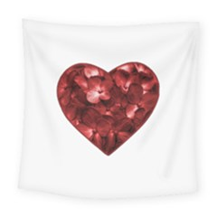 Floral Heart Shape Ornament Square Tapestry (large)