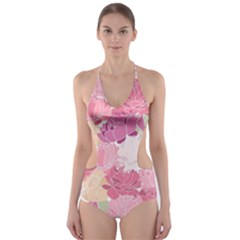 Peonies Flower Floral Roes Pink Flowering Cut-Out One Piece Swimsuit