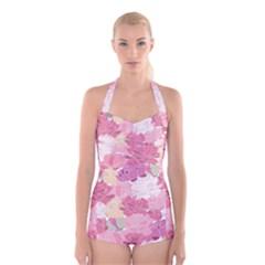 Peonies Flower Floral Roes Pink Flowering Boyleg Halter Swimsuit
