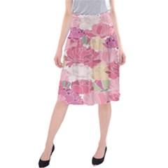 Peonies Flower Floral Roes Pink Flowering Midi Beach Skirt
