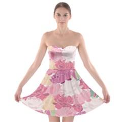 Peonies Flower Floral Roes Pink Flowering Strapless Bra Top Dress