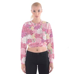 Peonies Flower Floral Roes Pink Flowering Women s Cropped Sweatshirt
