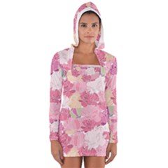 Peonies Flower Floral Roes Pink Flowering Women s Long Sleeve Hooded T-shirt