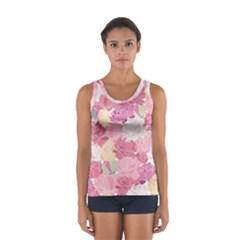 Peonies Flower Floral Roes Pink Flowering Women s Sport Tank Top