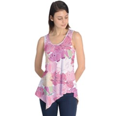 Peonies Flower Floral Roes Pink Flowering Sleeveless Tunic