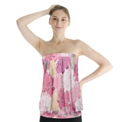 Peonies Flower Floral Roes Pink Flowering Strapless Top