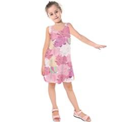 Peonies Flower Floral Roes Pink Flowering Kids  Sleeveless Dress