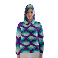 Purple Flower Fan Hooded Wind Breaker (Women)