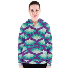 Purple Flower Fan Women s Zipper Hoodie