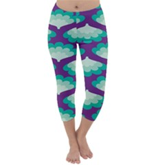 Purple Flower Fan Capri Winter Leggings