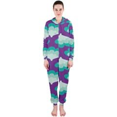 Purple Flower Fan Hooded Jumpsuit (Ladies)