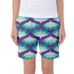 Purple Flower Fan Women s Basketball Shorts