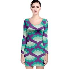 Purple Flower Fan Long Sleeve Velvet Bodycon Dress