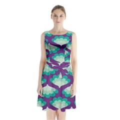 Purple Flower Fan Sleeveless Chiffon Waist Tie Dress