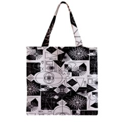 Point Line Plane Themed Original Design Zipper Grocery Tote Bag