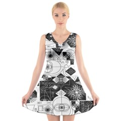 Point Line Plane Themed Original Design V-Neck Sleeveless Skater Dress
