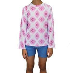Peony Photo Repeat Floral Flower Rose Pink Kids  Long Sleeve Swimwear