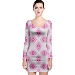 Peony Photo Repeat Floral Flower Rose Pink Long Sleeve Bodycon Dress