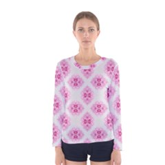 Peony Photo Repeat Floral Flower Rose Pink Women s Long Sleeve Tee