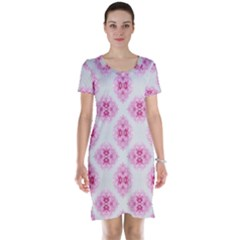 Peony Photo Repeat Floral Flower Rose Pink Short Sleeve Nightdress