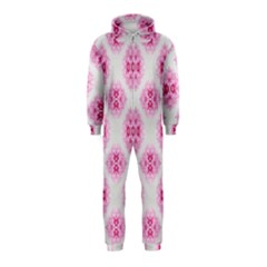 Peony Photo Repeat Floral Flower Rose Pink Hooded Jumpsuit (Kids)