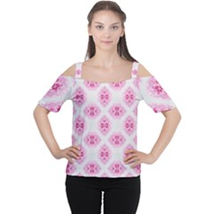 Peony Photo Repeat Floral Flower Rose Pink Women s Cutout Shoulder Tee
