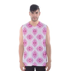 Peony Photo Repeat Floral Flower Rose Pink Men s Basketball Tank Top