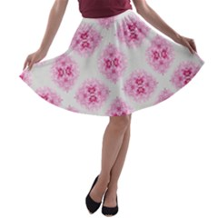 Peony Photo Repeat Floral Flower Rose Pink A-line Skater Skirt