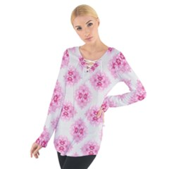Peony Photo Repeat Floral Flower Rose Pink Women s Tie Up Tee