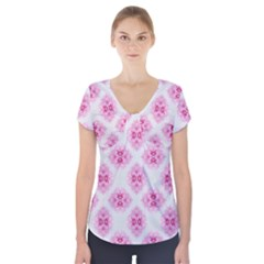 Peony Photo Repeat Floral Flower Rose Pink Short Sleeve Front Detail Top