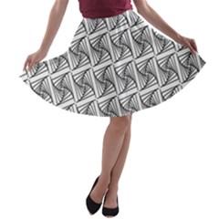 Plaid Black A-line Skater Skirt