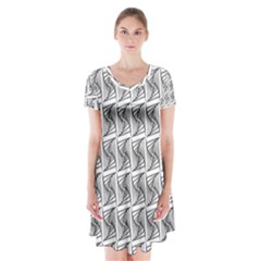 Plaid Black Short Sleeve V-neck Flare Dress