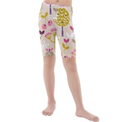 Retro Fruit Leaf Tree Orchard Kids  Mid Length Swim Shorts