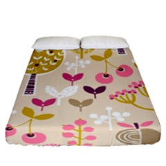 Retro Fruit Leaf Tree Orchard Fitted Sheet (queen Size)