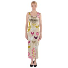 Retro Fruit Leaf Tree Orchard Fitted Maxi Dress