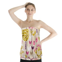Retro Fruit Leaf Tree Orchard Strapless Top