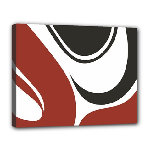Red Black Canvas 14  x 11