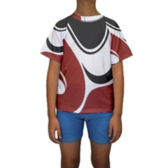 Red Black Kids  Short Sleeve Swimwear